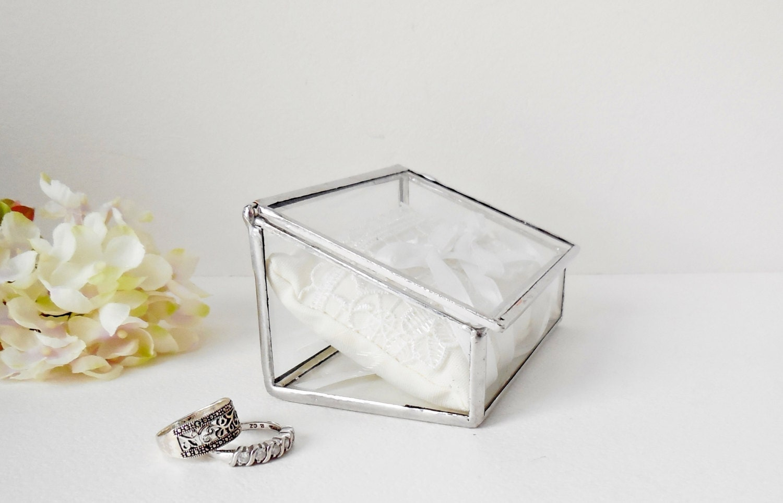 glass box wedding ring box clear glass ring bearer
