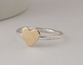 Stunning Handmade Sterling Silver 925 Hammer Finish Gold Heart Stacking Ring