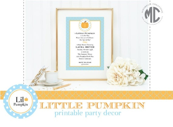 PRINTABLE PARTY COLLECTION - Lil Pumpkin Collection (Customizable)-- Mirabelle Creations
