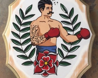 Boxer Painting on Wood