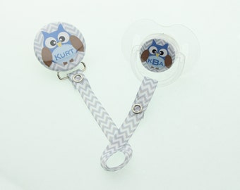 Personalized Name and/or Monogram Grey Chevron with Blue  Owl Pacifier Clip (PER83-B) (MSRP 19.00)