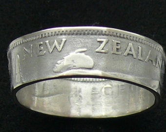 Silver Coin Ring 1945 New Zealand 1 Shilling Double Sided and Ring Size 8 1/2