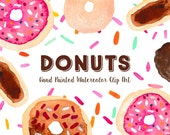Donuts Pastry Hand Painted Watercolor Clipart Clip Art - Commercial Use doughnuts sprinkles frosting modern trendy cake stand eclair bakery