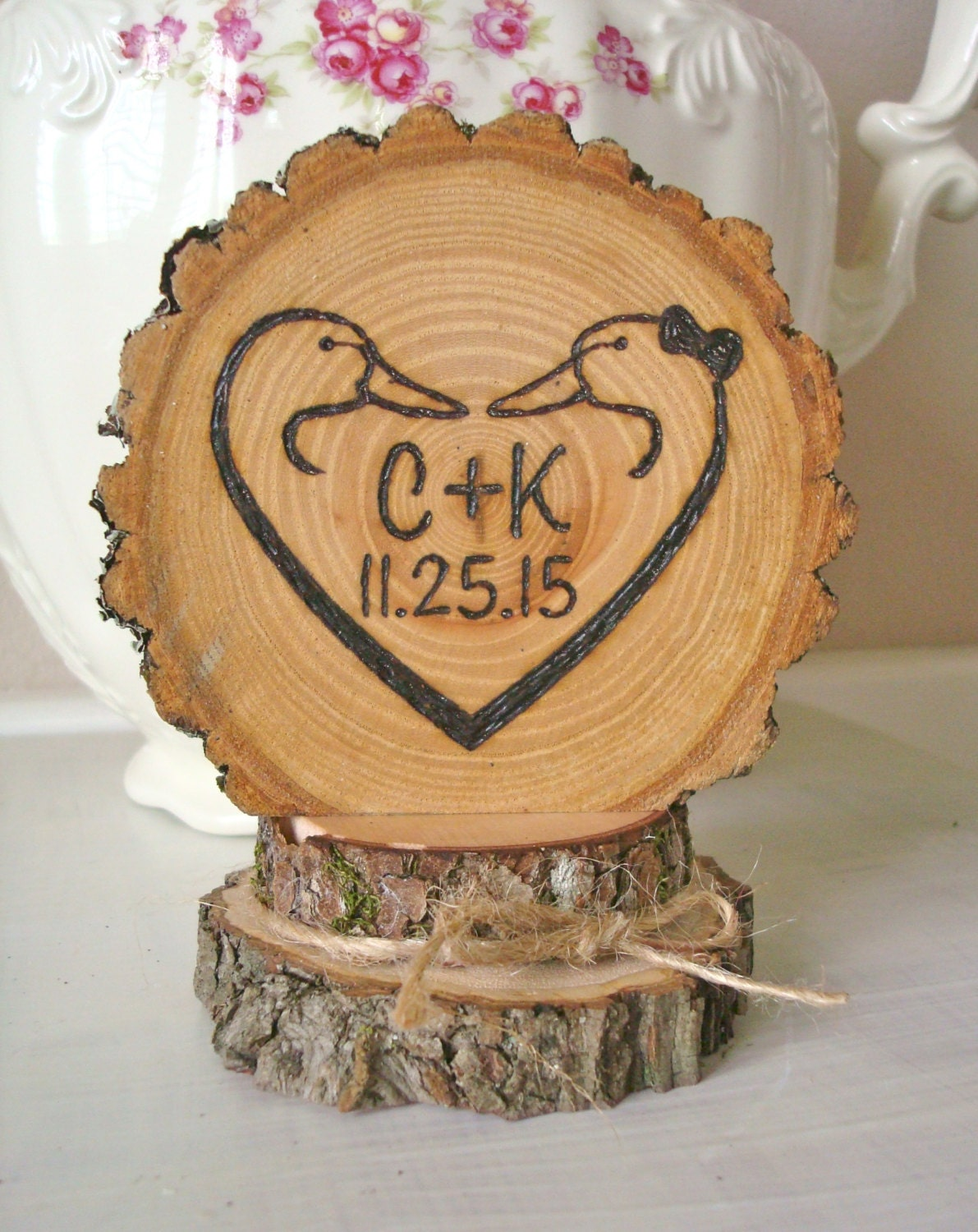 wooden wedding cake topper not on the high street rustic wedding cake topper ducks personalized duck wood burned 27608