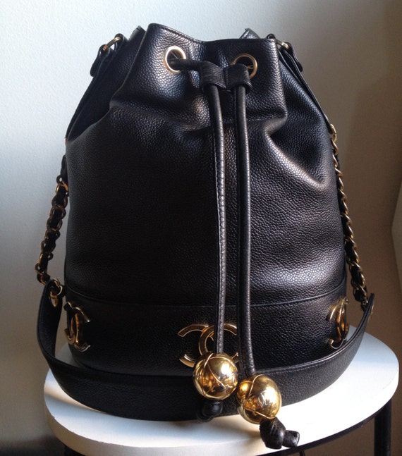 Chanel Black Caviar Leather Drawstring Bucket Shoulder Bag 21