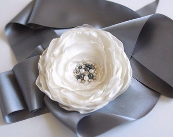 Ivory and Grey Bridal Sash Wedding Flower Sash Bridal Dress Sash Silver Grey Ribbon Dress Sash Ivory Flower Sash Couture Bridal Accessories