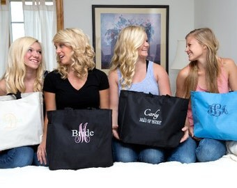 Set of 9 - Embroidered Monogrammed Tote Bag Bride, Maid of Honor, Bridesmaid Gift