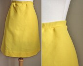 70s Mini Skirt // 60s High Waist Yellow Mod Retro Flare A Line Mini Skirt // XS S M L  Small Medium Large