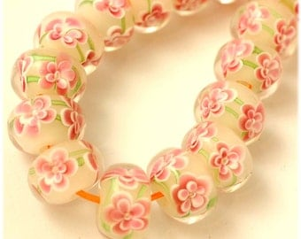 Encased Garden Lampwork Glass Rondelle Beads Double Layer Pink Flowers