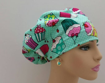 Mini - Chemo Cap - Nurses Hat - European Style - Party Cupcakes Tossed Over Polka Dot Ground
