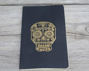 Day Of The Dead Skull Gold Embossed Lined Journal