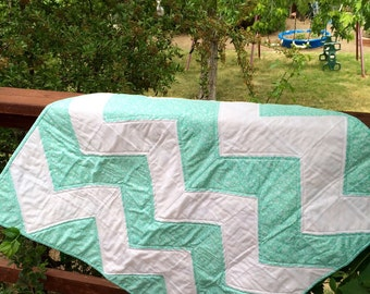 Teal White Chevron geometic Baby Quilt