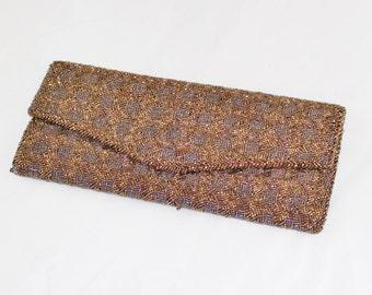 Bronze Gold Seed Bead Vintage Evening Clutch Bag
