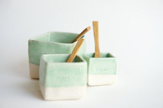 Salt Cellar Pepper Sugar - Handmade Ceramic Spice Cellars by RossLab Hostess Gift Christmas Gifts for Foodies