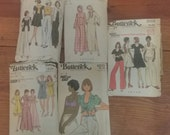 Lot 11. Butterick 1970s size 12 patterns jacket halter top skirt pants caftan robe gown