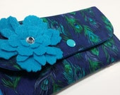 Cash Envelope Wallet with Dividers, Coupon Holder, for use with the Dave Ramsey System -Peacock-