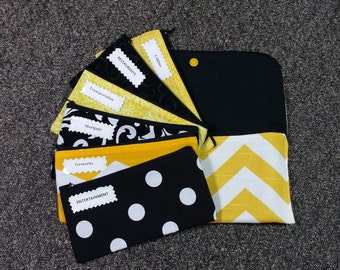 Dave Ramsey Envelope Wallet style, Cash Envelopes System -Yellow Chevron (It can be used with the Dave Ransey System)