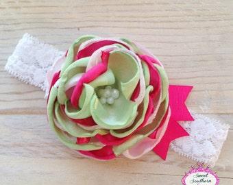 Spring has Sprung Couture Headband, Lace Headband, Fabric Flower Headband, Layered Fabric Headband, Satin Flower Headband