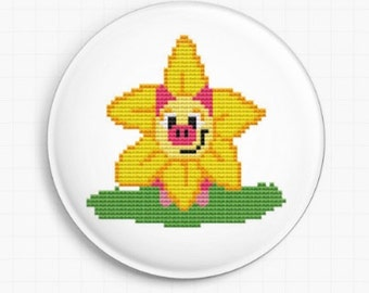 Needle minder for Cross Stitch - Daffodil Pig - Tapestry and Needlepoint