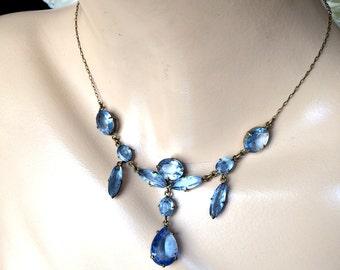 Art Deco Blue Czech Glass Necklace