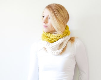 the SOLOMON cowl - knit scarf chunky scarf cowl scarf - color block citron fisherman - LIMITED