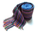 FREE SHIPPING - VINTAGE: 1980's - Boho Hipster Guatemala Woven Faja - 100% Cotton - Traditional Belt - Sash - Native Belt - (20-B2-00003728)