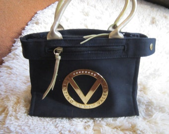 90's Gold and Black Mario Valentino Zip Handbag