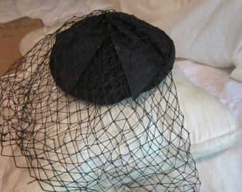 Vintage Black Net Beret Type Hat with Bow