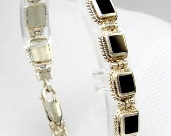 3D Black Box 925 Sterling Silver Tennis Bracelet, Twised Edge Square Box, Raised