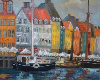 Waterfront Oil Painting in Copenhagen, Denmark / 24 X 30 / Original Boat Landscape