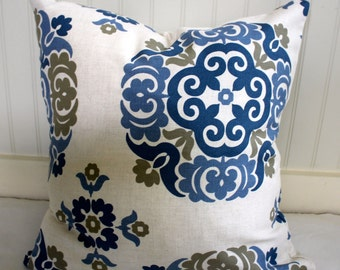 IN STOCK / Blue, Tan and Ivory Suzani Pillow Covers in  Designer Fabric