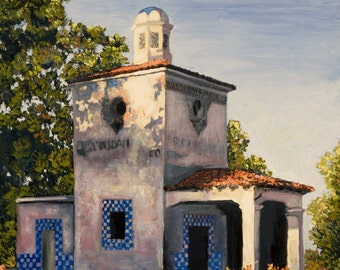 Barnsdall Service Station Painting in Giclee Prints. Gallery Wrap Canvas, Prints with beveled double mat and more.