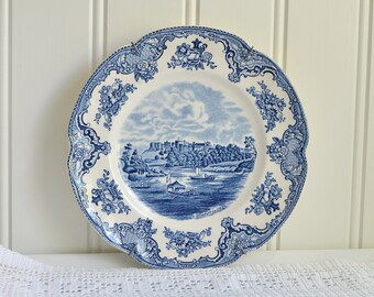 Blue transferware vintage plate, old britain castles , Johnson bros, blue white home decor, collectors plate