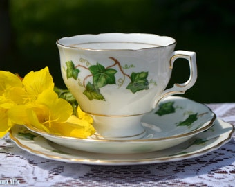 Colclough Ivy Leaf Trio, Teacup, Saucer, Bread and Butter plate, Bone China Teacup Trio, Wedding Gift, ca. 1940-