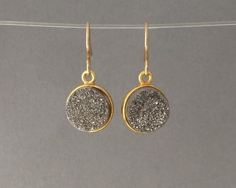 Gold Silver Gray Druzy Dangle Earrings