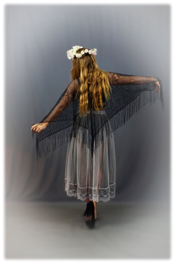 Cute Stevie Nicks Vintage Sheer Black Lace Poncho By Andeebird