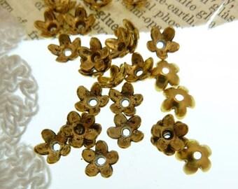30 tibetan stye antique golden flower bead caps 6 mm  x 4 mm
