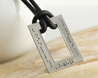 Mens Hand Stamped rectangle morse code pendant necklace, Fathers Day Gift, Mens personalized necklace
