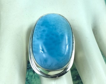 Beautiful Sky Blue Larimar Oval  Ring  Size  8 *5