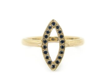 The Black Diamond Maya Ring - 9ct Gold Navette Ring