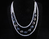 Hand beaded necklace, triple strand necklace, Black and white necklace