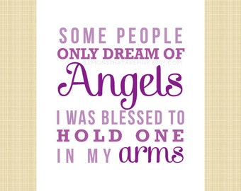 Some people only dream of angels... - Digital Memorial Print (miscarriage, stillborn, infant, child loss)