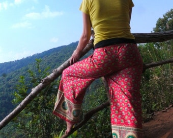 Original Fisherman  Pants, Cotton, Pink & Gold with small elephants printing  and pocket -- woman's clothes --
