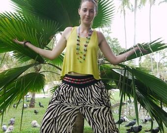 Thai Pants Batik Light Weight Fabric Zebra Design and Tribal Waistband - Black & White