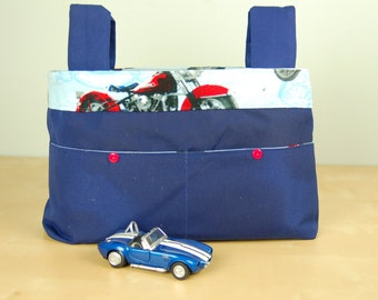Walker Bag:  Navy Blue Bag, featuring a Motorcycle inspired lining, with red accents