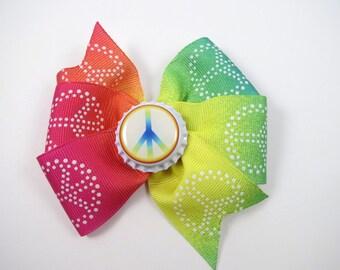 Peace Hair Bow - Rainbow Pinwheel Hair Clip - Peace Symbol Hair Bow - Tye Dye Hair Bow - Kids Girls Hair Accessories