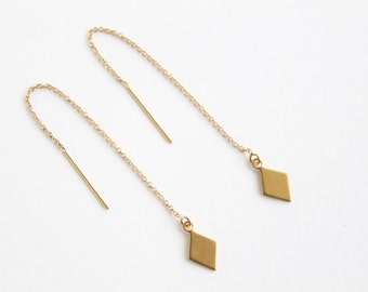 Long gold threader earring - geometric brass diamond charm - 14k delicate chain - modern minimalist