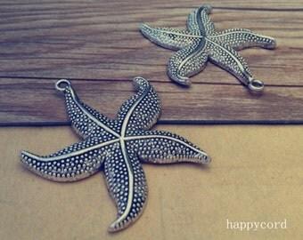 8pcs Antique silver starfish pendant charm 49mm