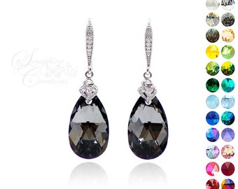 Dark Grey Bridal Earrings Swarovski Silver Night Crystal Bridesmaid Earrings Cubic Zirconia Dark Grey Black Wedding Bridesmaid Gift K012