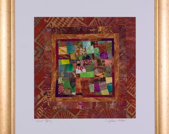 BURNT OFFERING: A Framed Fine Art Abstract Collage Quilt Signed by the Artist